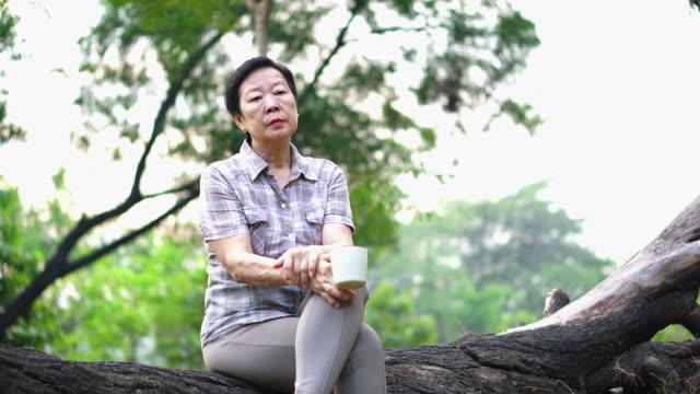 探している悲しい飲むコーヒーの人生考えて公園で一人で座っている孤独なアジア シニア女性 - 寂しさ点の映像素材/bロール