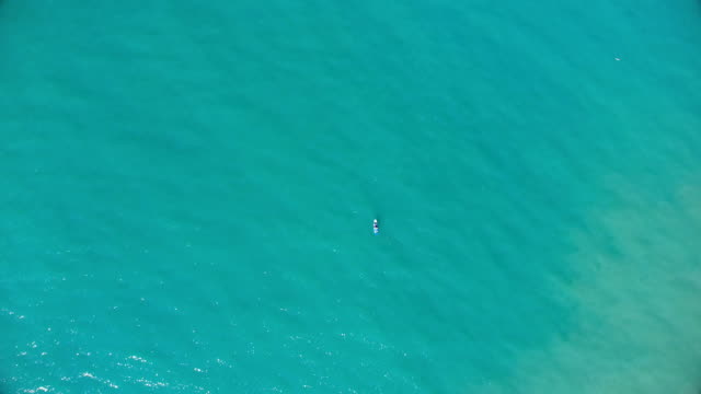 Lonely boat in Pacific Ocean video