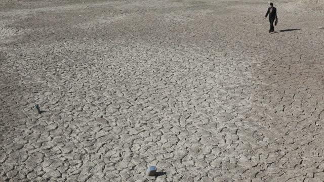 Lonely businessman walking in desert video