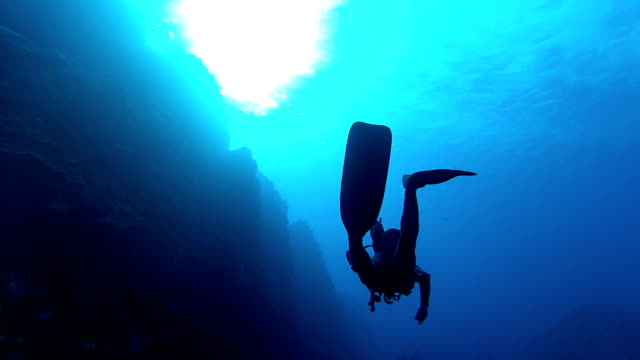 Lonely Diver One diver in a deep blue scuba diving stock videos & royalty-free footage