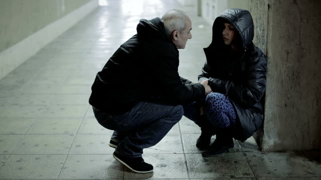 Lonely drug addict woman: saved, old man, station, neglect, abandon video