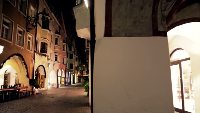 Lonely european street by night video
