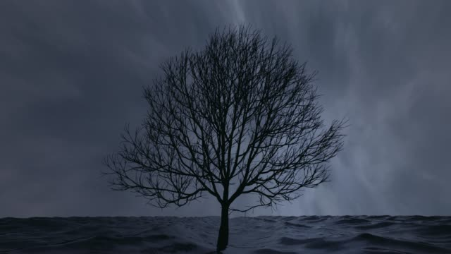 Einsame überflutet Baum ansehen unter den Wellen. Schleife. 3D Animation. – Video