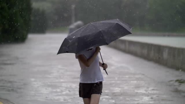 einsames mädchen geht auf der straße bei regenwetter unter einem dach im freien - sonnenschirm stock-videos und b-roll-filmmaterial