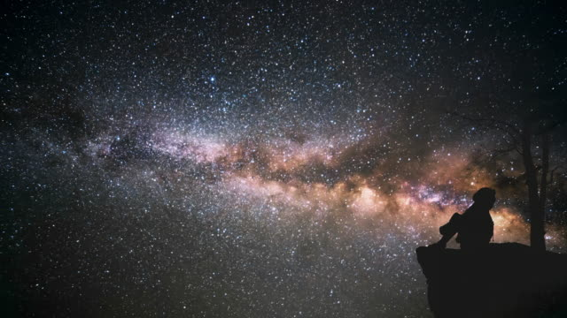 lonely girl watching the milky way - astronomia video stock e b–roll