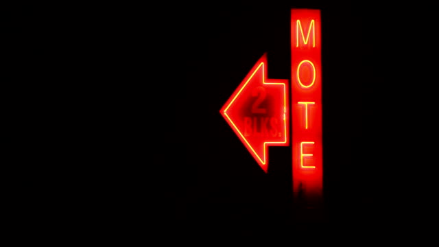 Lonely Lighted Motel Sign Red Neon Animated Rural Country