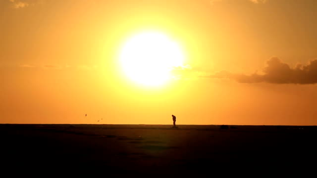 Lonely man on sandy beach under big sun video