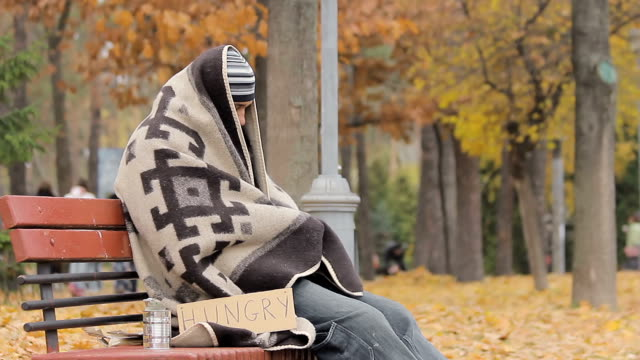 Lonely poor person sitting on bench, warming up with old blanket, man starving video