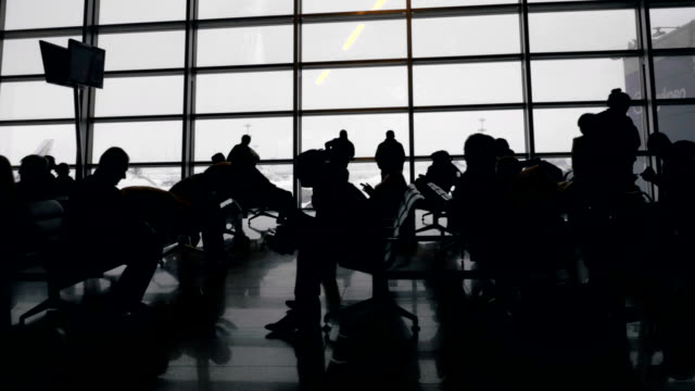 Long and boring time in waiting-room of the airport video