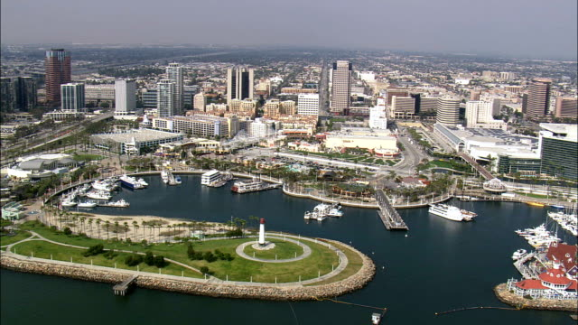 long beach  - aerial view - california,  los angeles county,  united states - lungo video stock e b–roll
