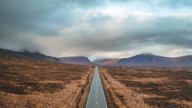 long country road in the scottish highlands - landscape video stock e b–roll