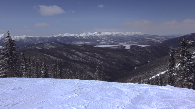 Long Distance Ski Slopes Mountain Views video