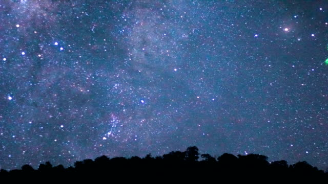 Long exposure of star and milky way over the mountain at night. video