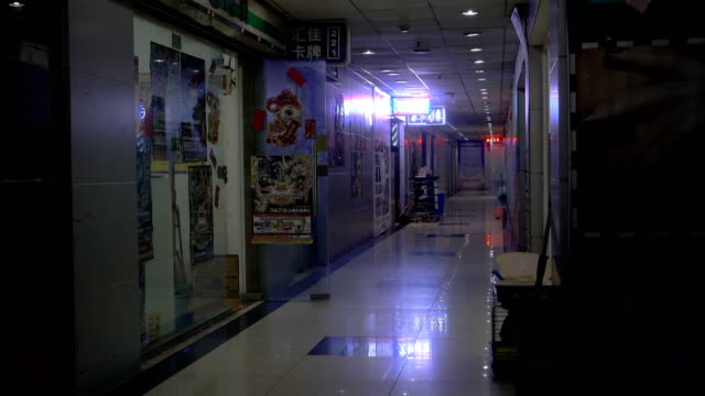 Long gloomy indoor hallway with neon flashing shop lights in China. An empty dark corridor in Shanghai with bright flashy signs. No people in an empty dingy mall hallway with stores. market retail space stock videos & royalty-free footage