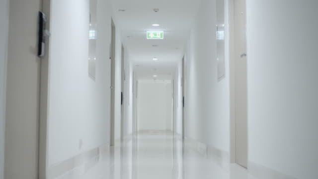 long hallway - igiene video stock e b–roll