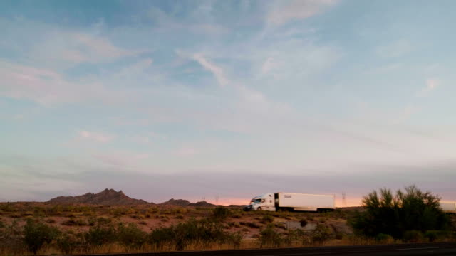 Long Haul Semi Truck On a Rural Western USA Interstate Highway