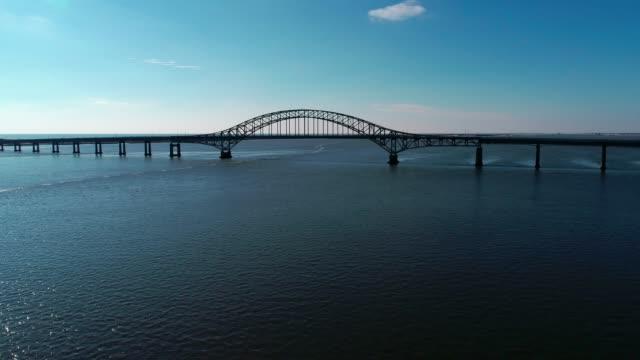Long Island Bridge as Seen by a Drone in Winter