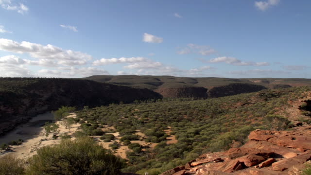 long pan from kalbarri national park and murchison river, western australia - western australia stock videos & royalty-free footage