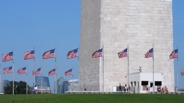 Long Shot of Tourists Visiting the Base of Washington Monument video
