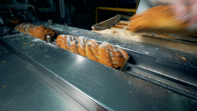 Long sweet crumpets with sugar powder and poppy seeds are put on the conveyor. 4K. video