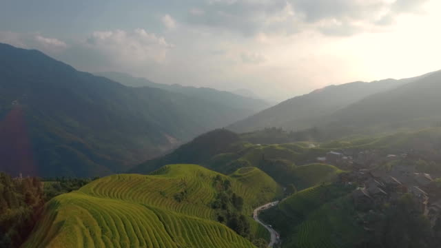 Longji Rice Terrace in Ping An Village at Sunset video