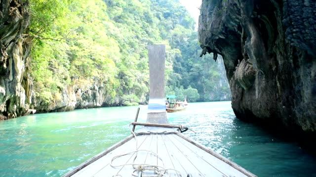 Longtail boat traditional travel Krabi island at Thailand