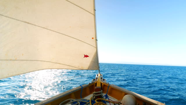 Look at the Front of the Sail Boat on the Sea video