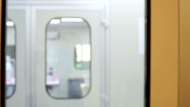 Look through the window in medical laboratory video