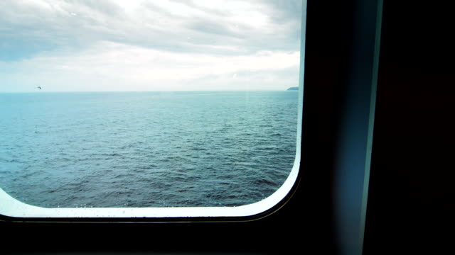 Looking at Ocean by the Windows View of a Large boat video
