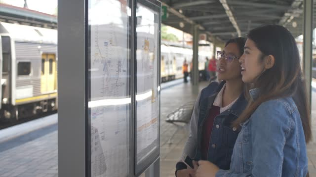Looking at the train network map in Sydney video