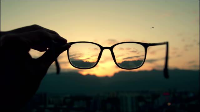 Looking through eyeglass