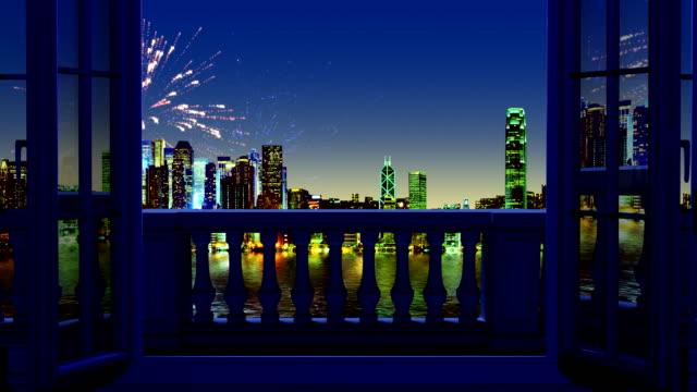 新年の花火の窓を通して見る ビデオ