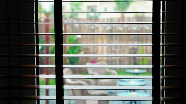 looking through the wooden blinds - store filmów i materiałów b-roll