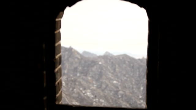 Looking Through Window in Tower in Great Wall of China video