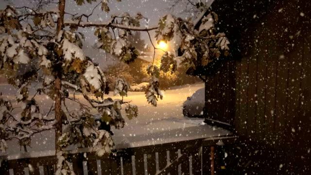 Looking Through Window to Backyard, Snowing, Seamless 4K Loop,
