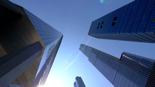 Looking Up at Skyscraper Buildings In New York City in 4K Slow motion 60fps video