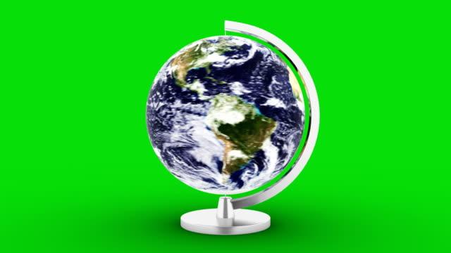 loop 4k upplösning roterande planet jorden på grön bakgrund - ekvatorn latitud bildbanksvideor och videomaterial från bakom kulisserna