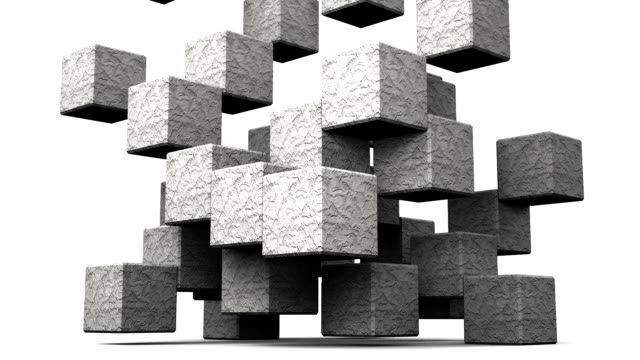anello in grado di pietra astratto cubo su sfondo bianco - armonia video stock e b–roll