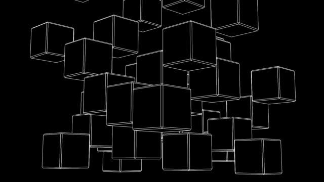 anello in bianco wire-frame cubo astratto su sfondo nero - armonia video stock e b–roll