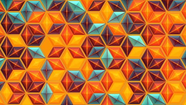 vídeos y material grabado en eventos de stock de fondo de animación de bucle con forma hexagonal de color. estructura poligonal abstracta de representación 3d. resolución 4k, uhd - mosaico