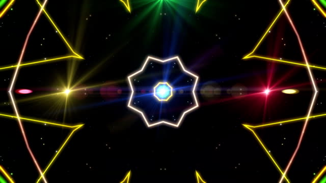 Loop animation of abstract psychedelic laser lights rotating in concentric circles. Rainbow spectrum of colors. Disco dancing and electronic music background. video