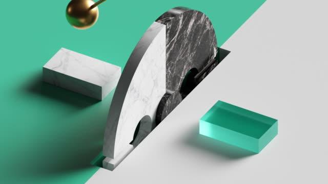 vídeos y material grabado en eventos de stock de animación en bucle de pundulum eterno balanceo, bola de oro 3d y rueda giratoria. latido repetido. ordenador generó un diseño de movimiento sin costuras de formas geométricas simples. imagen en vivo, cartel animado moderno. - equilibrio