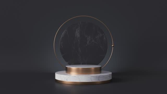 loop animation av vit marmor piedestal isolerad på svart bakgrund, loopas roterande runda stenplatta, blank skyltfönster, mode podium, cylinder steg, abstrakt minimal concept, memorial board - wheel black background bildbanksvideor och videomaterial från bakom kulisserna