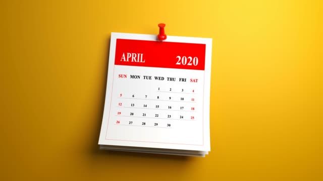 Loop April Month Page Of Calendar 2020 Year On Yellow Background April, Calendar, 2020, Month, Date Block april stock videos & royalty-free footage