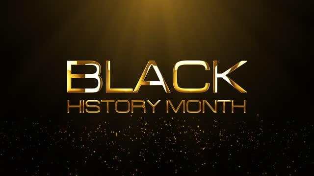 4k 3d loop черная история месяц золотой текст с золотыми сверкающими частицами и вспышки света фон концепции. черная история месяц цикл кинемат - black history month стоковые видео и кадры b-roll