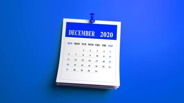 ループ 12 月月カレンダー ページ 2020 年青の背景 - 十二月点の映像素材/bロール