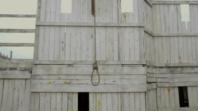 正義と自殺クローズアップ恐ろしい揺れる風の日はハングマンを待つループの絞り込み - 首点の映像素材/bロール