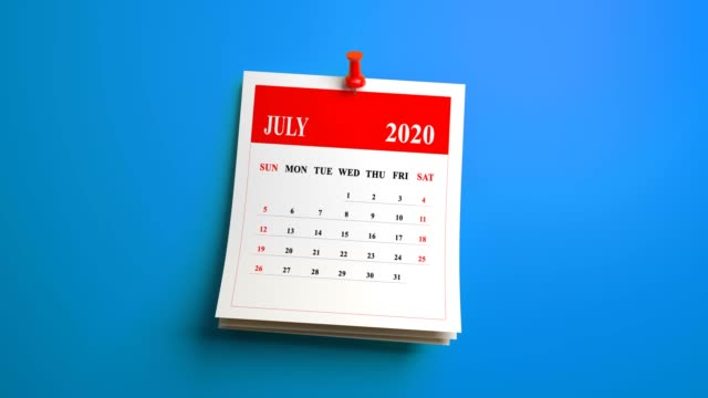 loop july month calendar 2020 year on blue background - luglio video stock e b–roll