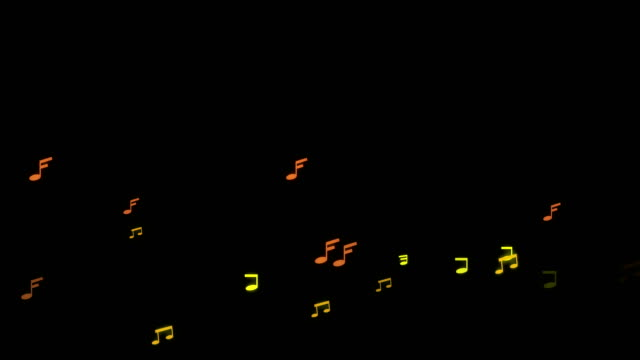 Loop Music note song running and floating on black background.