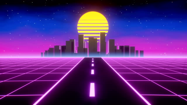 Loop of synthwave retro background